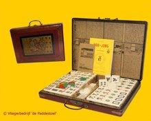 Mah Jong XL Kunststof in rode houten koffer